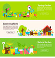 Nature and Gardening Tools Flat Horizontal Banners vector image