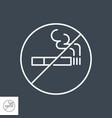 no smoking prohibition sign thin line icon vector image