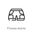 outline fitness shorts icon isolated black simple vector image vector image