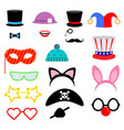 party birthday photo booth props flat collection vector image vector image