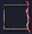 pink ribbon and golden frame on dark background vector image vector image