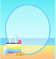 poster depicting beach and some objects on sand vector image
