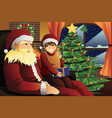 santa claus talking with a kid on his lap vector image vector image