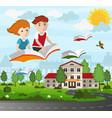 school children flying on a book vector image