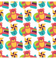 seamless pattern background full kid toys cartoon vector image vector image