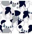 seamless pattern with hand drawn woman faces vector image vector image