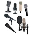 set different microphones collection vector image