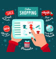 shopping from smartphone concept vector image vector image