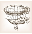 Steampunk mechanical flying airship sketch vector image