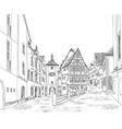 street with old buildings and cafe in old city vector image vector image