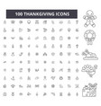 thankgiving editable line icons 100 set vector image