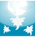 Three Ghost flying under a full moon vector image vector image