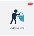 two color man drinking water in public place icon vector image