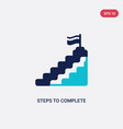 two color steps to complete icon from education vector image