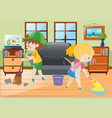 two kids mopping and sweeping floor vector image vector image