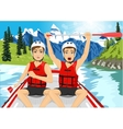 Two young men in a raft boat crossing finish vector image vector image