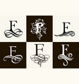 vintage set capital letter f for monograms vector image vector image