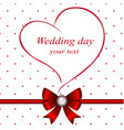 wedding card with heart and bow vector image vector image