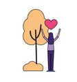 woman love heart tree nature vector image