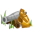 Ships cannon and Royal knight breastplate vector image