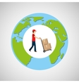 globe world man delivery pushing boxes vector image