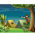 A hunter in a campsite vector image vector image