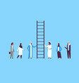 arabian people group climbing career ladder way up vector image vector image