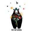 bear holding bouquet of flowers vector image vector image