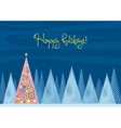 Beautiful Chrismas tree winter flat landscape vector image vector image