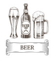 beer bottle and mugs icons set vector image vector image