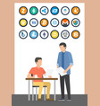 bitcoin currency boss and employee set vector image vector image