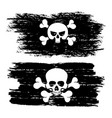 black dirty pirate flags with skulls vector image