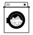 black sections silhouette of washing machine with vector image