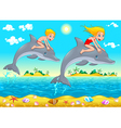 Boy girl and dolphin in the sea vector image vector image