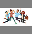 business people jumping celebrating vector image