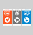 butcher shop packaging labels set chickengoat vector image vector image