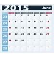 Calendar 2015 June design template vector image vector image