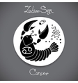 Cancer zodiac sign of horoscope circle emblem in vector image vector image