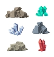 Cartoon minerals and stones set vector image vector image