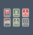 collection city stamps from different countries vector image