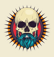 color angry skull with hairstyle vector image vector image