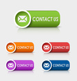 Colored rectangular web buttons contact us vector image