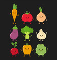 cute happy smiling raw vegetable vector image vector image