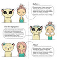 cute make-up three steps instruction girl and vector image vector image