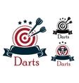 darts sport emblem vector image vector image