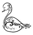 decorative swan sketch on white background vector image vector image