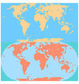 dotted world map created by square dots in flat vector image