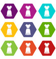 dress icon set color hexahedron vector image