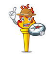 explorer torch mascot cartoon style vector image vector image