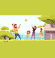 family playing ball cartoon vector image vector image